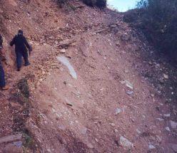 walking on steep trail