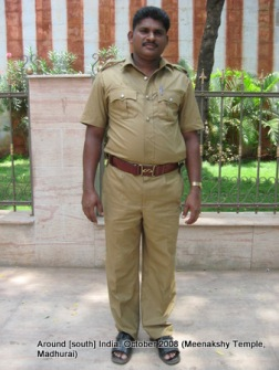 a policeman on duty at meenaxi temple