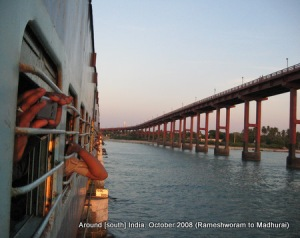 a train passes from over a bridge leaving rameswaram behind