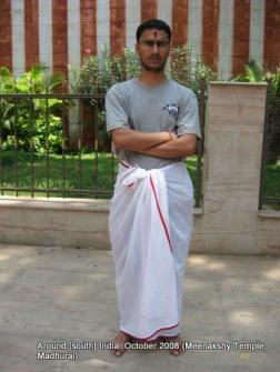 wearing dhoti in meenaxi temple