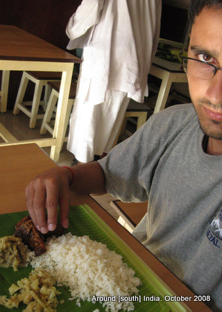 dinesh wagle lunching on banana leaf in kanyakumari