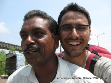 dinesh wagle on a motorcycle taxi in goa
