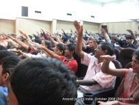 participants of a handwriting workshop in bangalore learn the art of clapping
