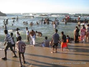 people play on beach of kanyakumari