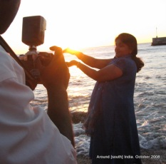 photographing sunrise in kanyakumari