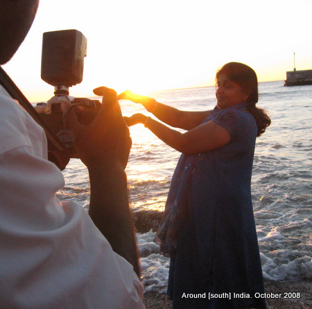 photographing sunrise in kanyakumari