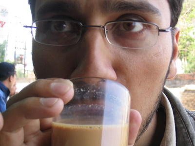 dinesh wagle sipping tea