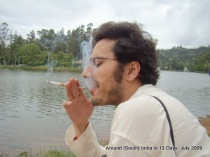 Trying out Gokul's newly bought cigarette holder