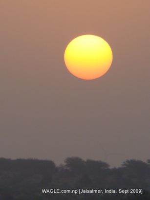 camel safari in jaisalmer india sunrise
