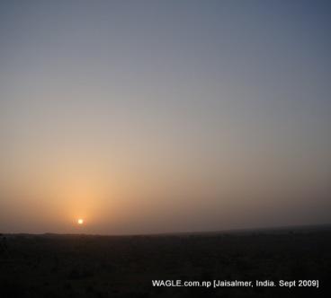 camel safari in jaisalmer india sunrise daybrak