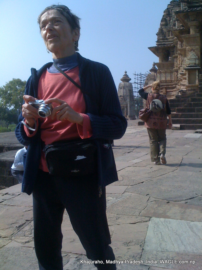 tourist at khajuraho temple