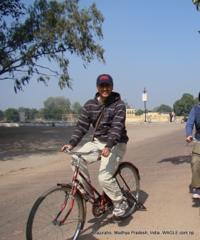 bicycling around khajuraho