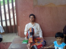 taking rest in red fort, agra
