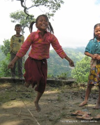highway kids of nepal playing skipping