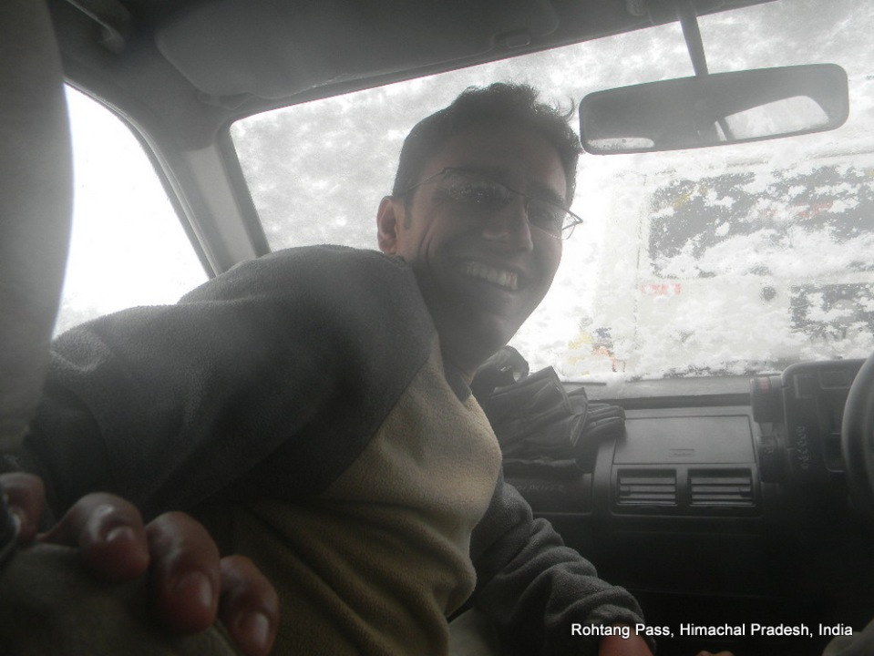 dinesh wagle in taxi on his way back to manali from rohtang pass himachal pradesh india