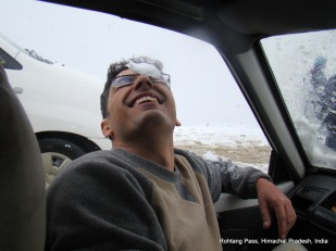 dinesh wagle inside the cab with snow on eye rohtang pass himachal pradesh india