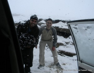 pavan and dinesh outside cab rohtang pass himachal pradesh india