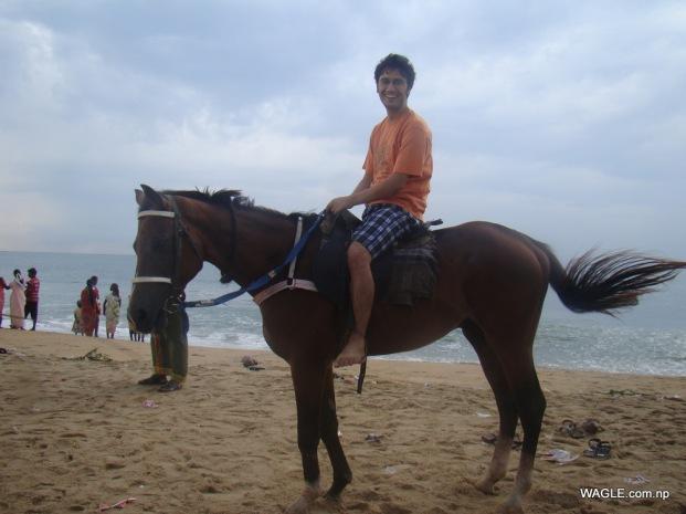 Horse ride at Mahabalipuram beach