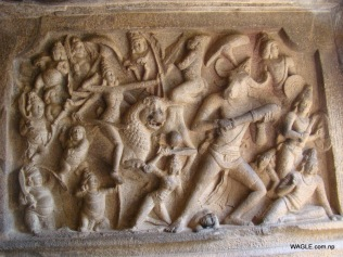 Mahishamardhini Cave. Mahabalipuram india stone carving monolith temples (17)