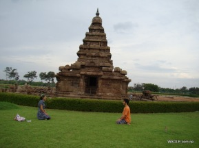 Shore Temple and Devotees. Mahabalipuram india stone carving monolith temples