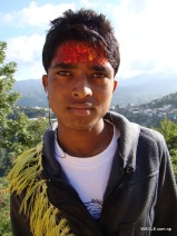 boy dadeldhura nepal on the day of dashain tika