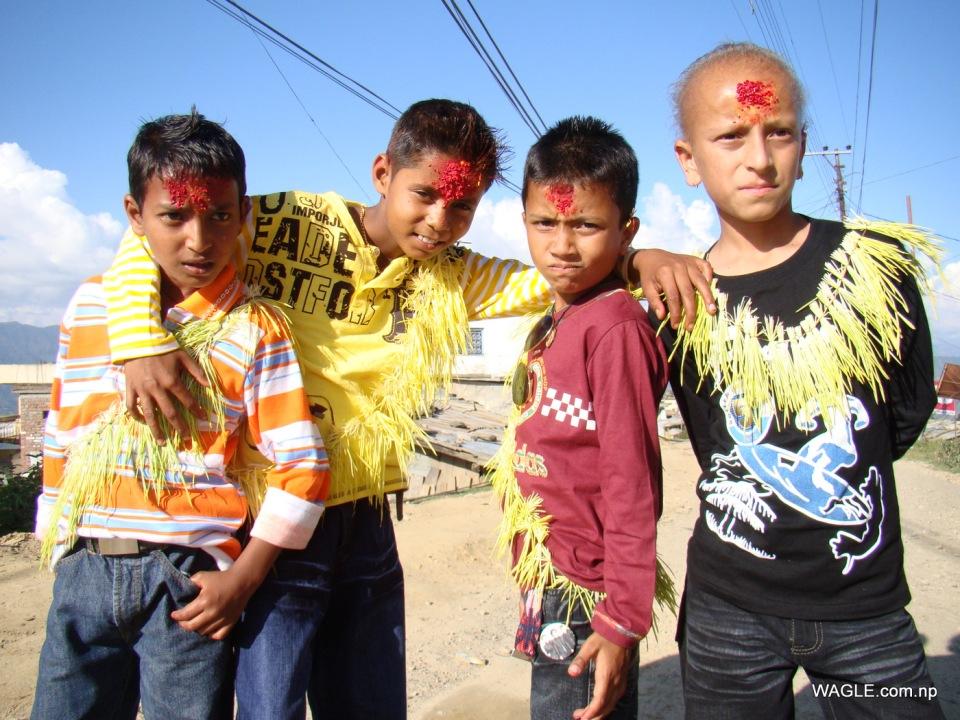 kids of dadeldhura, nepal on the day of dashain tika