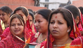Devotees in a line to perform pooja at the Cheer in Basantapur