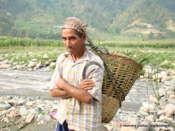 Ashrang villager on the bank of Bagmati river. The river separates two districts- Lalitpur (Ashrang village) and Makwanpur (Manthali village).