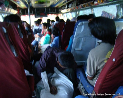 This near Tinpane Bhangyang while we were heading towards Gimdi. The bags contained sugar that spilled all over in the bus because of a hole created by the bumpy ride.