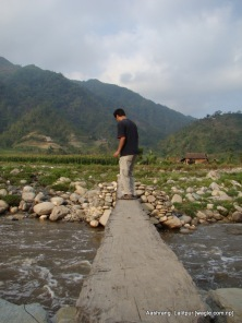 wooden bridge over bagmati river in ashrang lalitpur and manthali makwanpur