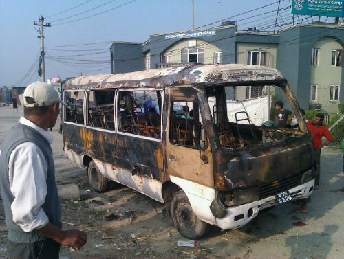 Bus burnt in Kathmandu, Nepal