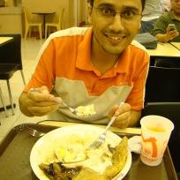 Manila food: rice, fish, egg and mushroom