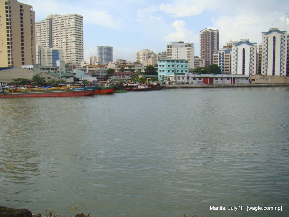 River and the buildings