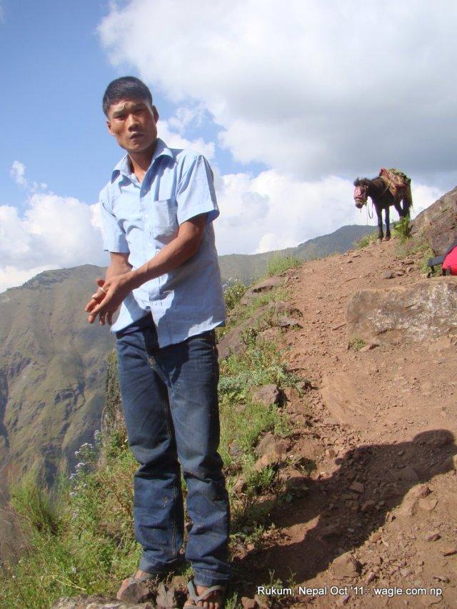 Hemraj Pun of Kol village in Rukum. He killed the creeper. Read about him in Nepali in the link given below.
