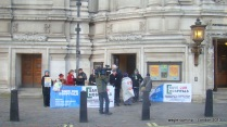 Protesters in front of the UK Supreme Court building at Parliament Square, London.