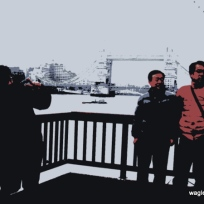 Because several groups were jostling to take the best picture with the London Bridge on the background.