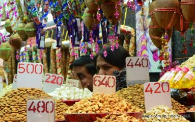 Delhi dry fruit shop- eyes open and covered