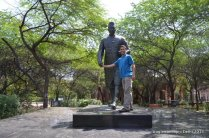 The University is named after the first Indian Prime Minister Jawaharlal Nehru- his staute at the administrative block of the University.