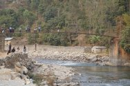 This in Likhu Khola- the river was smaller compared to Sunkoshi and the rapid just below the suspension bridge (not seen in this photo) was not threatening.