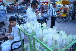 Tasty lassi- empty glasses. Old Delhi