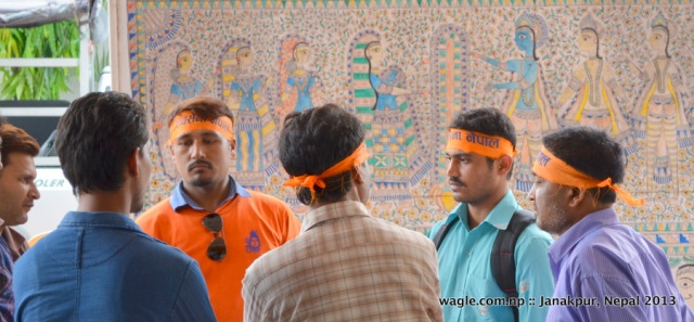 Cadres of Shiva Sena (Shiva's Army) Nepal, a monarchist/Hindu outfit, waited outside the hotel in Janakpur where the visiting former king Gyanendra stayed.