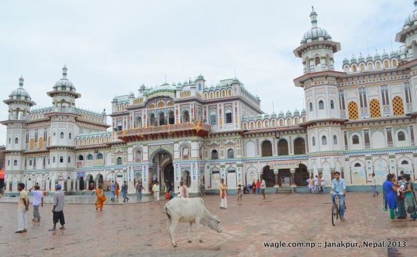Janaki temple is a 102-year-old Rajput architecture around which identity of Janakpur revolves. Very colorful piece of art but not well maintained. Former king Gyanendra had just left the temple when we reached there. There were not many devotees at the time in the temple complex. Photo taken on June 19.