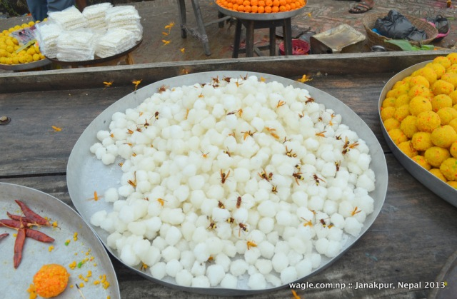 Sweets on sale at a stall inside the Janaki temple compound.