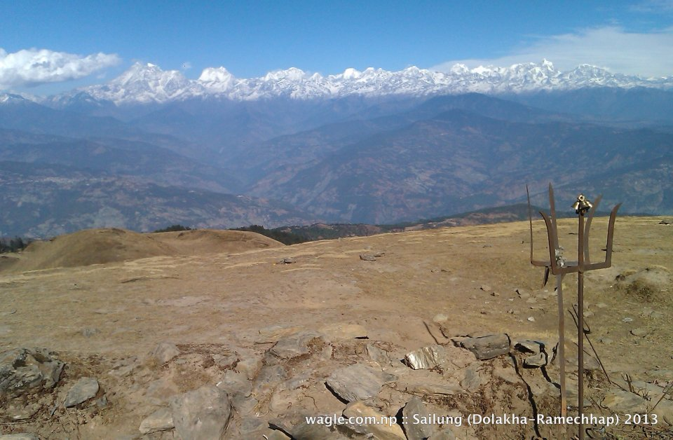 View of the Himalayas from Shailung hilltop