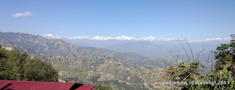 view of the himalayas from dhulikhel