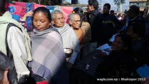 voters at a polling station in bhaktapur-1 constituency