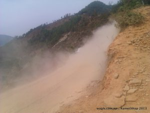 On way to Sanghutaar from Manthali. The road is recently built and is in operation during winter only