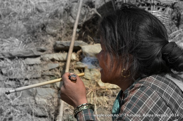 A woman smoked a cigarette from a bamboo stud in Thabang village, Rolpa.