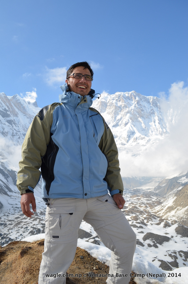 Mt Annapurna I (8020 meters) stood behind me as I posed for a camera