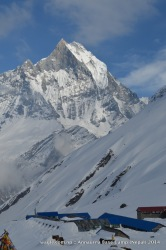 Mt Machhapuchhre and the lodges at Annapurna Base Camp